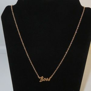 """""""BOSS"""" goldtone necklace- New in Box"""
